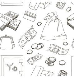 hand drawn finance symbols pattern vector image