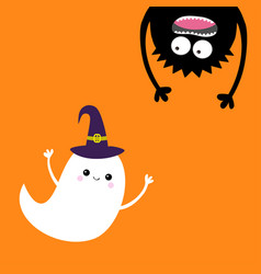 Happy halloween card flying ghost spirit witch vector