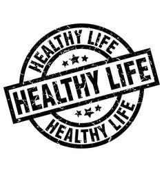 Healthy life round grunge black stamp vector