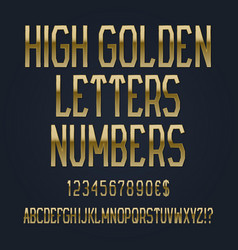 high golden letters numbers dollar and euro vector image