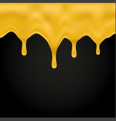 honey dripping on black background vector image