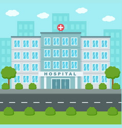Hospital building outside medical center flat vector