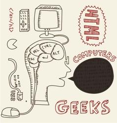 human head and computer vector image