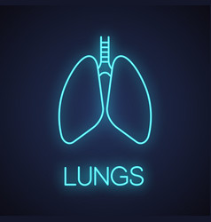 Human lungs with bronchi and bronchioles neon vector