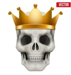Human skull with king gold crown vector image