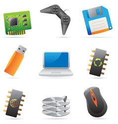 Icons for computer and computer parts vector image vector image