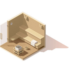 Isometric low poly sauna room icon vector