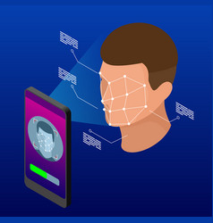 isometric unlocking smartphone with biometric vector image