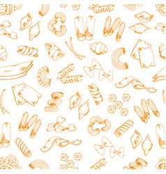 Italian pasta sketch seamless pattern vector