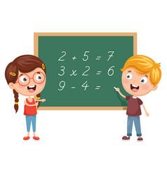 Kids having math lesson vector