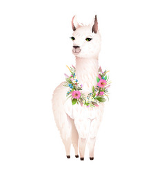 Lama animal design with flowers laurel vector