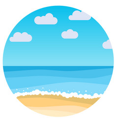 landscape with summer beach in circle vector image