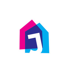Letter j house home overlapping color logo icon vector
