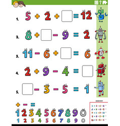 Math calculation educational task worksheet page vector
