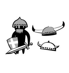 medieval warrior viking helmet vector image