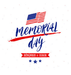 memorial day handwritten lettering vector image