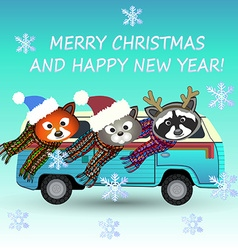 Merry christmas animals vector