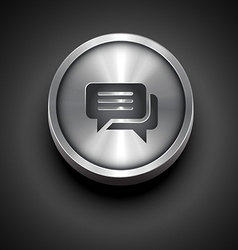 metallic chat icon vector image