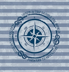 Nautical emblem with compass vector