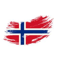 Norwegian flag grunge brush background vector