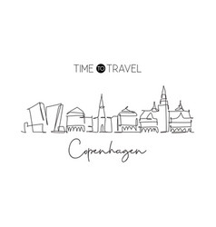 one continuous line drawing copenhagen city vector image