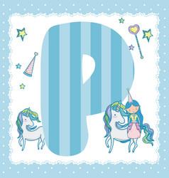 P alphabet letter for kids vector