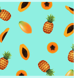 papaya with pineapple background vector image
