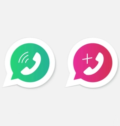 Phone handset icons in speech bubbles vector image