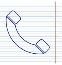 phone sign navy line icon on vector image