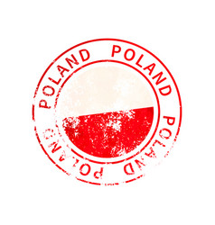 poland sign vintage grunge imprint with flag on vector image