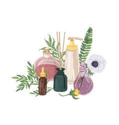 Realistic decorative composition with perfume and vector