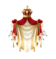royal baldachin with crown fringe fur vector image