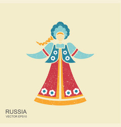 russian girl in national dress with a long plait vector image