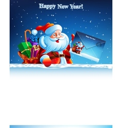 Santa Claus with a bag of gifts holding an vector