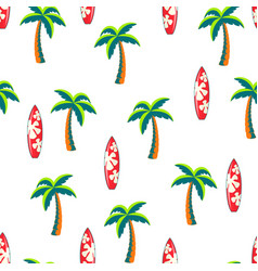 seamless pattern surfboards and palm trees vector image