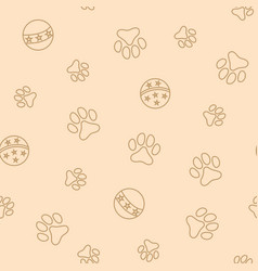 Seamless pattern with pet pawprints and balls vector