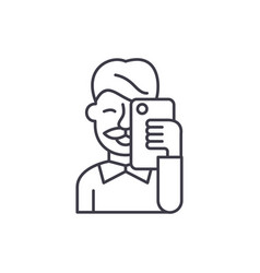 selfies line icon concept selfies linear vector image