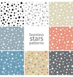 Set of 8 seamless stars patterns vector