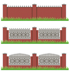 set of manor or garden brick fences decorated vector image