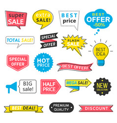 set of sale badges speech bubbles and ribbons vector image