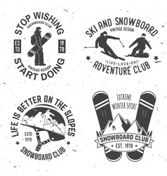 Set of ski and snowboard club insignia badges vector