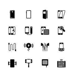 Smartphone accessories icon set vector