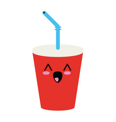 soda cup beverage cute kawaii cartoon vector image