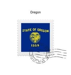 State of Oregon flag postage stamp vector