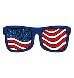 Sunglasses with united states america flag vector