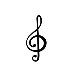 Treble clef g key symbol of music black icon vector