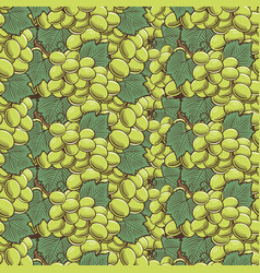Vintage green grapes seamless pattern vector