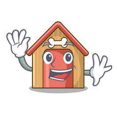 waving cartoon dog house and bone isolated vector image
