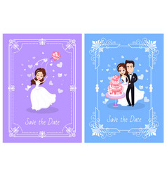 Wedding day couple traditions newlyweds vector