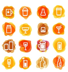 White drink icons clip-art on color blots Design vector